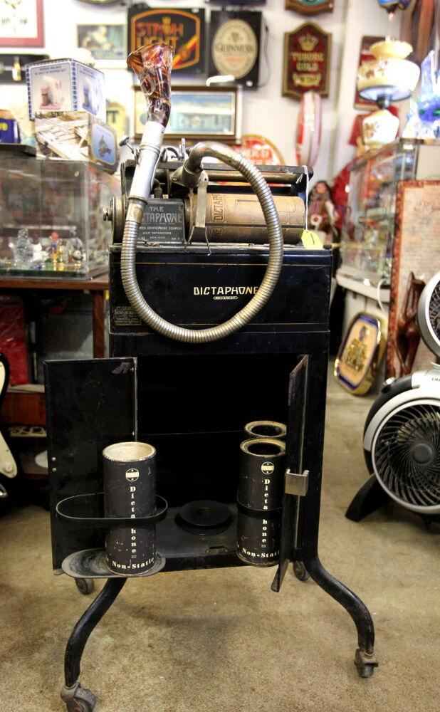 Thirsty's Flea Market at 1111 Ellice Ave. has eclectic vintage goods, including a dictaphone, a voice-recording device, from the 1930's that was used in court rooms.  (Ruth Bonneville / Winnipeg Free Press)
