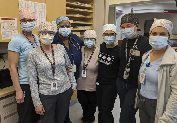 SUPPLIED                                                                       Nurses at HSC adult emergency wear homemade surgical scrub caps    - for Doug Speirs story /  Winnipeg Free Press 2020