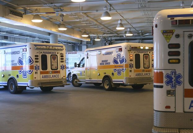 Ambulance bay at HSC- Health Sciences Centre is hiring four nurses to deal specifically with the chronic delays in unloading ambulances at the hospital. These nurses will tend to patients so the ambulances can be released and back on the road.-See Larry Kusch story- June 07, 2013 (JOE BRYKSA / WINNIPEG FREE PRESS)</p>