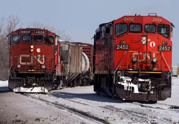 Canadian National locomotives are seen Monday, February 23, 2015 in Montreal. Canadian National Railway Co. says propane shortages in Central and Eastern Canada are