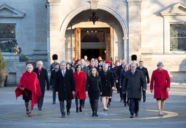 Members of the federal cabinet walk through the forecourt at Rideau Hall after a swearing in ceremony in Ottawa, on Wednesday, Nov. 20, 2019. THE CANADIAN PRESS/Justin Tang