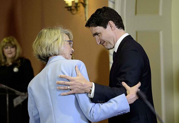 Prime Minister Justin Trudeau congratulates Joyce Murray after being sworn in a Treasury Board President during a cabinet shuffle at Rideau Hall in Ottawa on Monday, March 18, 2019. THE CANADIAN PRESS/Sean Kilpatrick