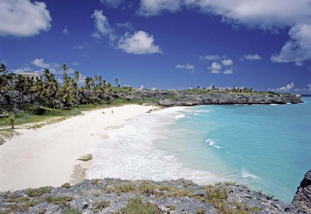 This undated photo courtesy of the Barbados Tourism Authority shows Harrismith Beach, Barbados. Sun, surf and sand are the main draws on this tropical Caribbean island. (AP Photo/Barbados Tourism Authority) NO SALES</p>