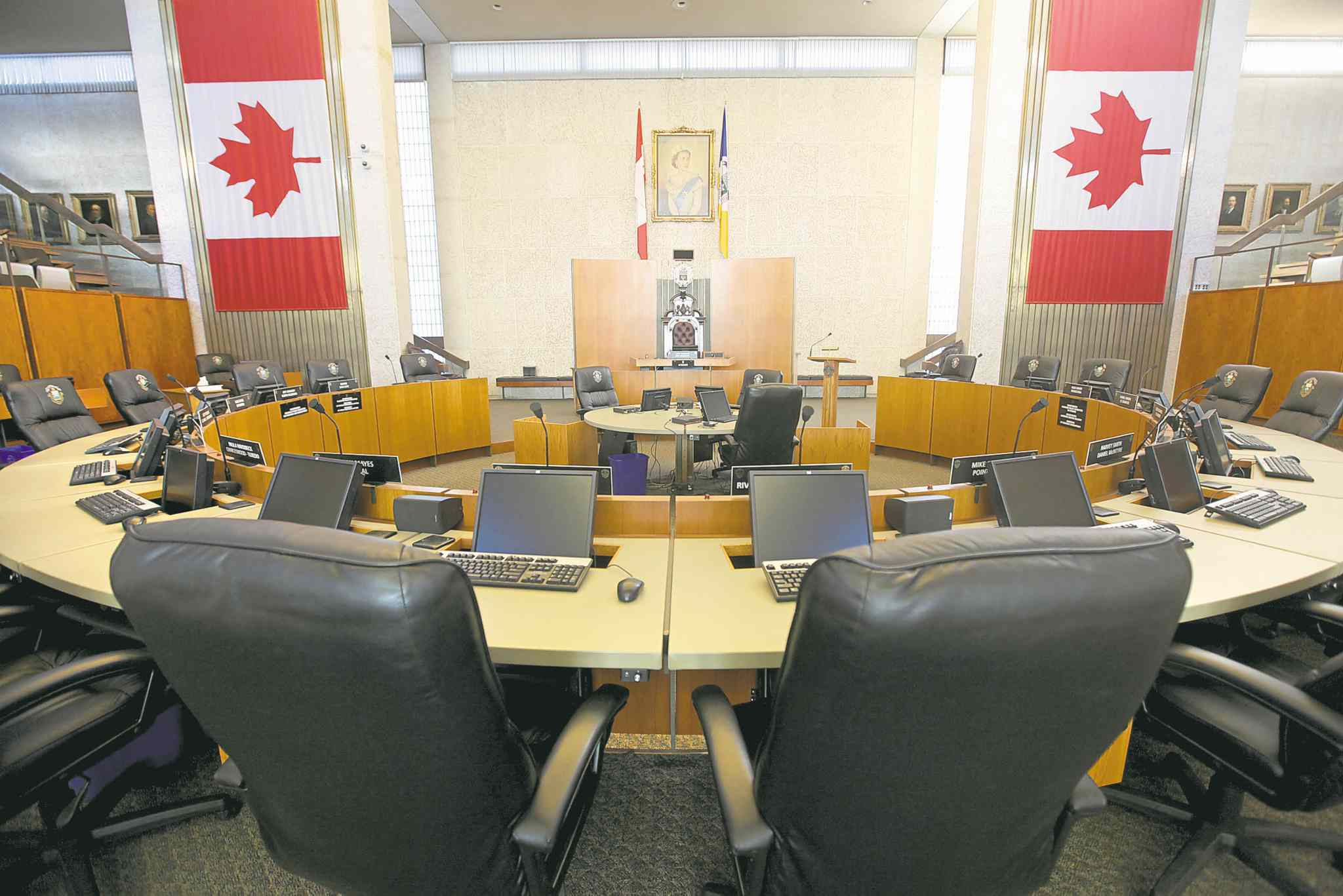 Empty   City Hall Councillor Chamber chairs for story on the rotating chair in politics.  Key words  - political party chairs, Leg, Parliament , politics.  49.8  Jan 28,, 2014 Ruth Bonneville / Winnipeg Free Press