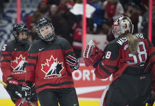 Team Canada's Jocelyne Larocque celebrates her goal past the U.S.A. with goaltender Embrace Maschmeyer during first period of Women's Rivalry Series hockey action in Vancouver, Wednesday, February 5, 2020. THE CANADIAN PRESS/Jonathan Hayward</p>