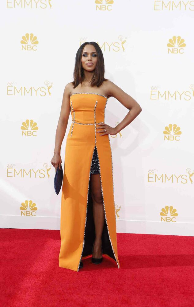 Kerry Washington (Scandal) arrives for the 66th Annual Primetime Emmy Awards at Nokia Theatre at L.A. Live in Los Angeles. (Tribune Media MCT)
