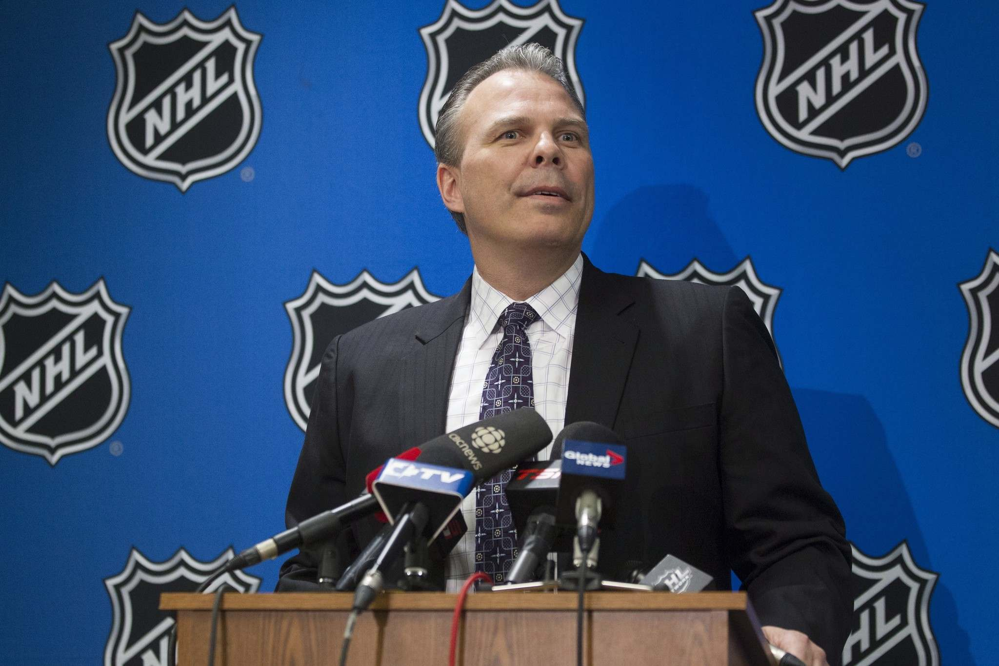 Chris Young / The Canadian Press</p><p>Kevin Cheveldayoff, general manager of Winnipeg Jets, speaks to the media after winning the second selection of the 2016 NHL Draft Lottery in Toronto on Saturday.</p>