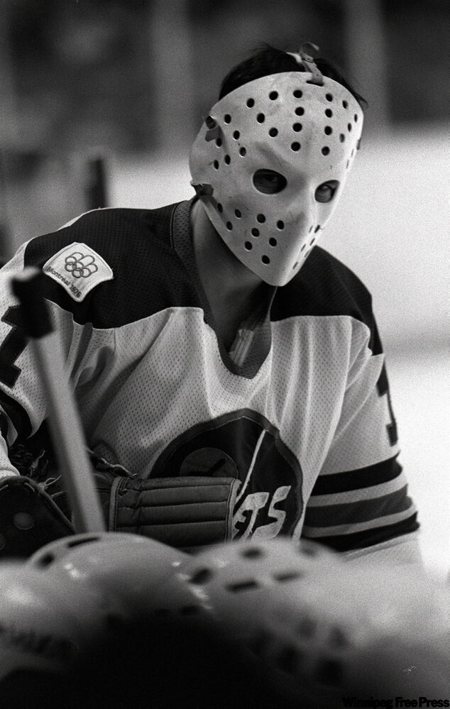 Jets goalie Joe Daley in game on March 12, 1976.