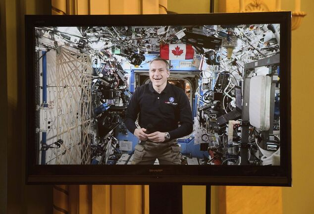 Astronaut David Saint-Jacques called Shaftesbury High School from the International Space Station Wednesday and answered questions from students. (Sean Kilpatrick / The Canadian Press files)</p>