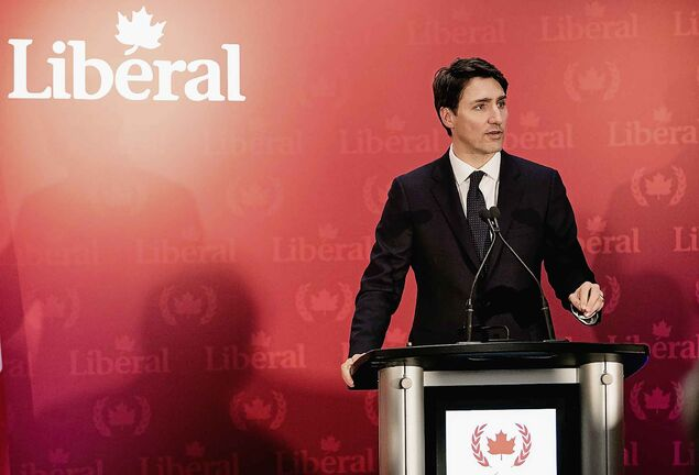 Prime Minister Justin Trudeau delivers remarks to Liberal supporters in Halifax on Wednesday.