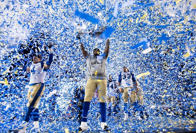 The Winnipeg Blue Bombers celebrate winning the 107th Grey Cup against the Hamilton Tiger Cats in Calgary on Nov. 24, 2019. (Nathan Denette / The Canadian Press files)