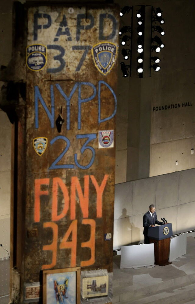 President Barack Obama speaks at the dedication ceremony for the National September 11 Memorial Museum on Thursday. (John Angelillo, Pool / The Associated Press )