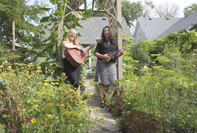 Andraea Sartison, left, and Jennie O'Keefe of Fête Jockey, a local arts-focused event company, are producing Sidewalk Soirées and giving local artists the chance to enjoy small-stage spotlights.</p>