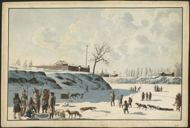 Peter Rindisbacher / Library and Archives Canada, e011161354</p><p>Winter fishing on ice of Assynoibain & Red River, by Peter Rindisbacher (1821).</p>