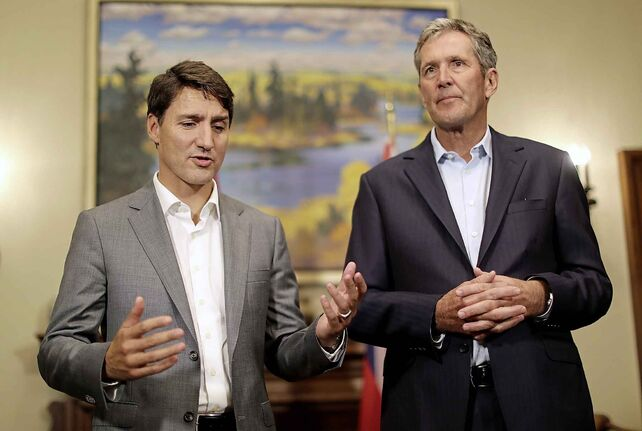 Prime Minister Justin Trudeau and Premier Brian Pallister at a meeting in Winnipeg in September.