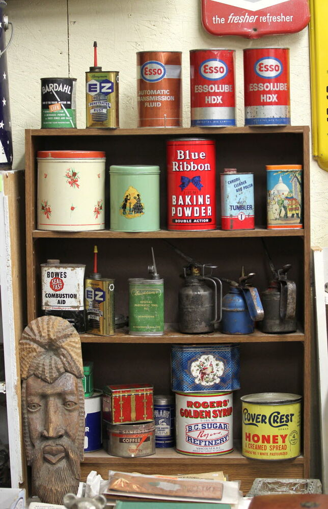 Thirsty's Flea Market at 1111 Ellice Ave. has eclectic vintage goods, including various vintage tin cans.    (Ruth Bonneville / Winnipeg Free Press)