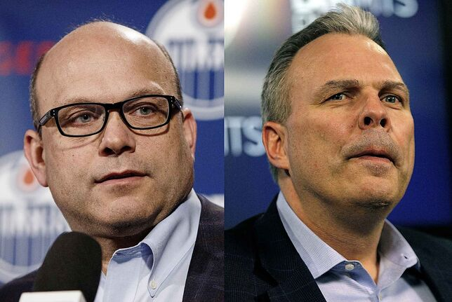 Former Edmonton Oilers general manager Peter Chiarelli, left and Winnipeg Jets GM Kevin Cheveldayoff.