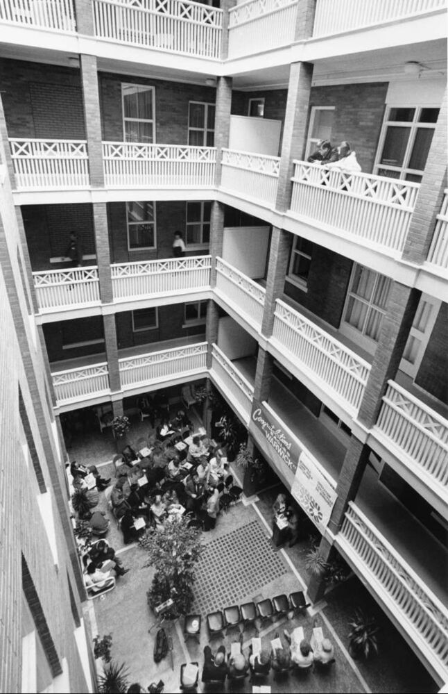 Wayne Glowacki / Winnipeg Free Press Archives February 21, 1987 The Warwick Apartments Well-wishers gather in enclosed atrium for official opening of the renovated Warwick.