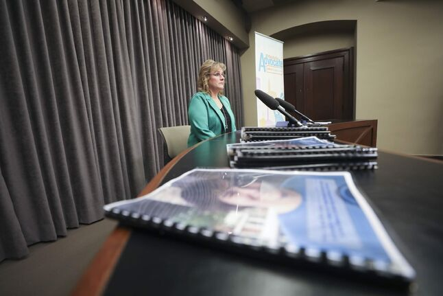 RUTH BONNEVILLE  /  WINNIPEG FREE PRESS    LOCAL - child death report  Daphne Penrose, Manitoba Advocate for Children and Youth addresses the media regarding the release of child death report and the recommedations to the government at the Legislature on Thursday.    Katie May - Reporter  Feb 27th,, 2020