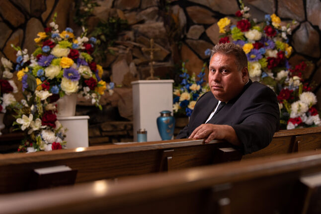 Michael Vogiatzakis, funeral director and general manager of Voyage Funeral Home and Crematorium, says it makes no sense that facilities are being limited to a maximum of 50 people indoors when the same restrictions are not placed on restaurants, bars and casinos. (Jesse Boily / Winnipeg Free Press)