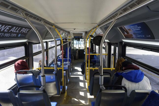 JESSE BOILY / FREE PRESS FILES</p><p>The city is considering a temporary reduction in transit service.</p>