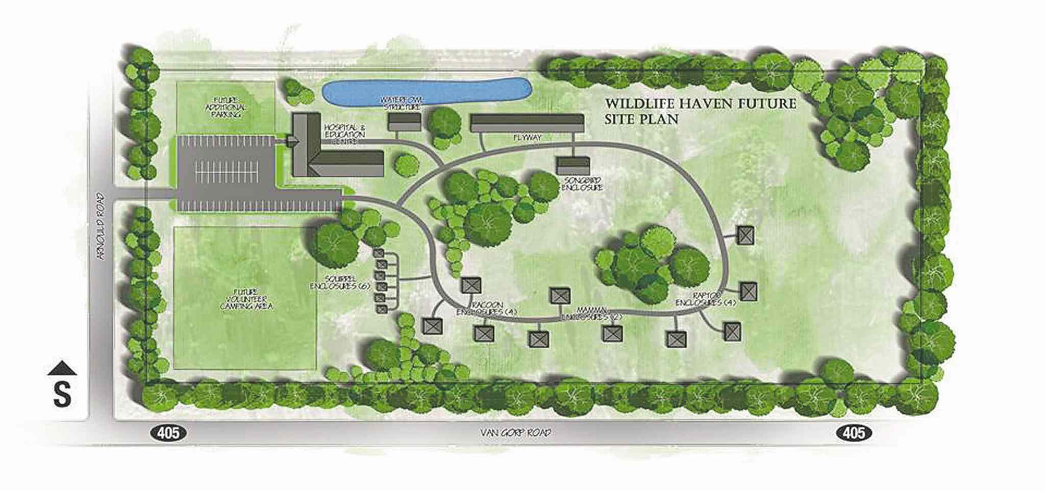 A site drawing shows Manitoba's Wildlife Haven Rehabilitation Centre's planned $2.5-million wildlife hospital and education centre in Île des Chênes. A fundraising campaign is now underway.