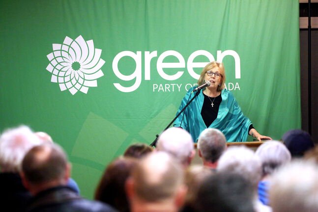 Green Party of Canada Leader Elizabeth May speaks to a room of approximately 90 people at the East End Community Centre in Brandon during a town hall event in March. (Michael Lee/The Brandon Sun files)