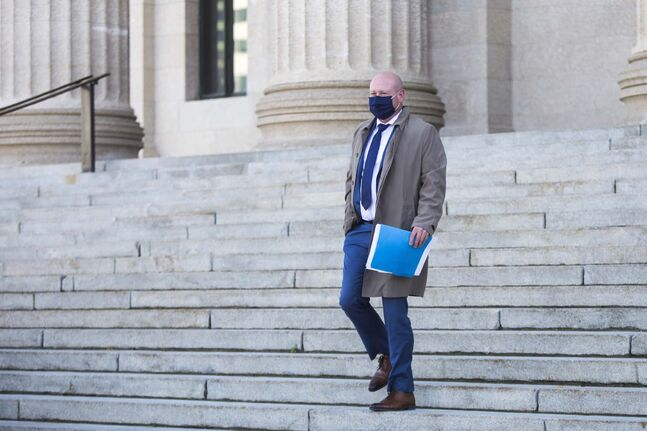 MIKAELA MACKENZIE / WINNIPEG FREE PRESS  Dr. Brent Roussin, chief public health officer, walks out after speaking to the media at the Manitoba Legislative Building in Winnipeg on Tuesday, Oct. 13, 2020. For Danielle story.  Winnipeg Free Press 2020