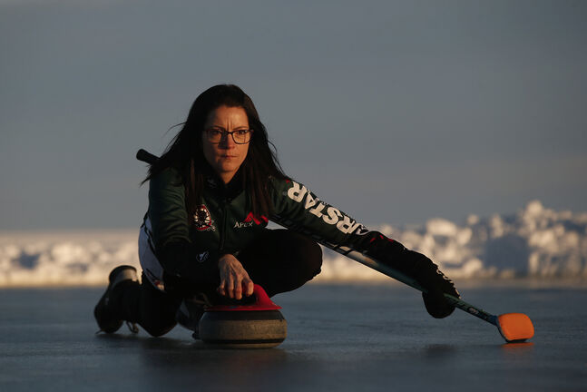 Team Canada skip Kerri Einarson is back on the ice after not having thrown a stone in almost two months. (John Woods / Winnipeg Free Press)