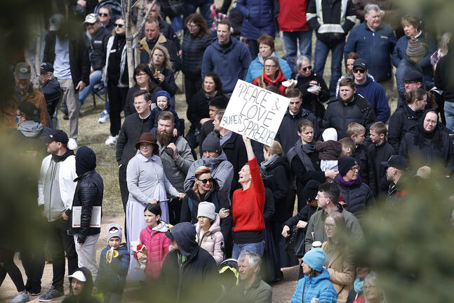 Chris Sky is an anti-mask, anti-vaccine activist who served as the main attraction at a large gathering of similarly minded folks at The Forks on Sunday. (John Woods / Winnipeg Free Press files)