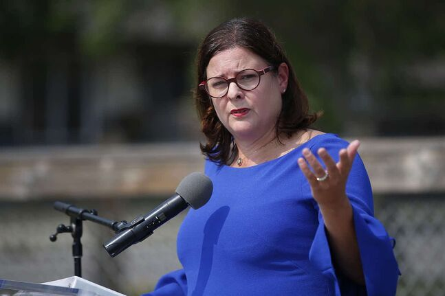 JOHN WOODS / WINNIPEG FREE PRESS PC MLA Heather Stefanson speaks at a press conference at South Winnipeg Community Centre in Winnipeg Wednesday, August 18, 2021. Stefanson announced that she will be running to be premier and leader of the Manitoba PC party.  Reporter: ?