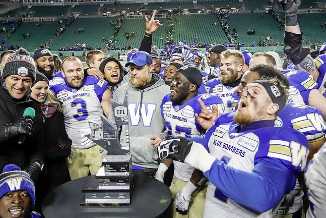 The Winnipeg Blue Bombers celebrate defeating the Saskatchewan Roughriders in the CFL West Final football game in Regina, Sunday, Nov. 17, 2019.THE CANADIAN PRESS/Jeff McIntosh