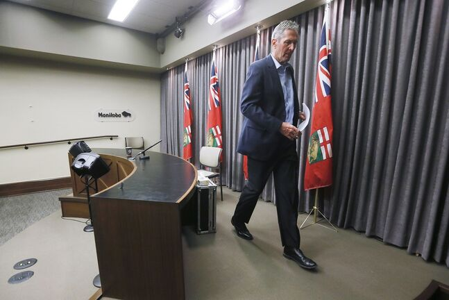 Premier Brian Pallister says the province is contemplating stricter measures and stepped up enforcement to ensure Manitobans follow social-distancing guidelines. (John Woods / The Canadian Press files)