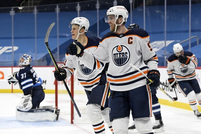 Connor McDavid has been a one-man wrecking machine against the Jets this season. (Fred Greenslade / The Canadian Press files)