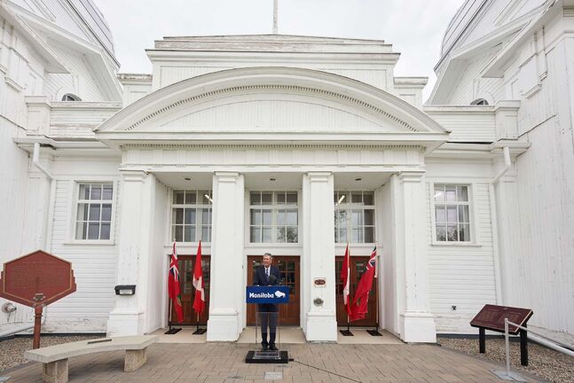 Manitoba Premier Brian Pallister announces that he will not be seeking re-election in front of the Dome Building in Brandon, Man., Tuesday, Aug. 10, 2021. THE CANADIAN PRESS/David Lipnowski