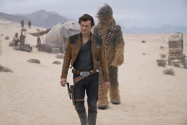 Alden Ehrenreich is Han Solo and Joonas Suotamo is Chewbacca in SOLO: A STAR WARS STORY.</p>