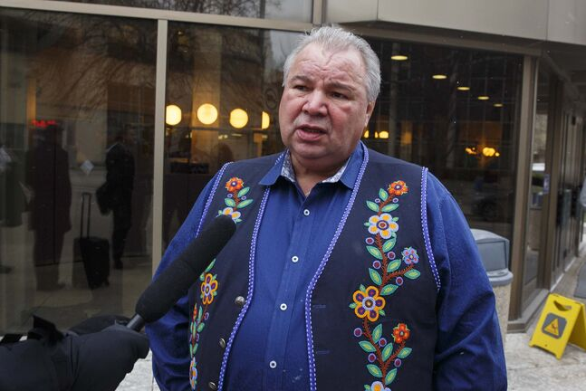 Manitoba Metis Federation president David Chartrand walked out before court was adjourned as a way to show his disappointment in that portion of the judge's decision, even though he considered the decision to be balanced overall. (Mike Deal / Winnipeg Free Press)</p>