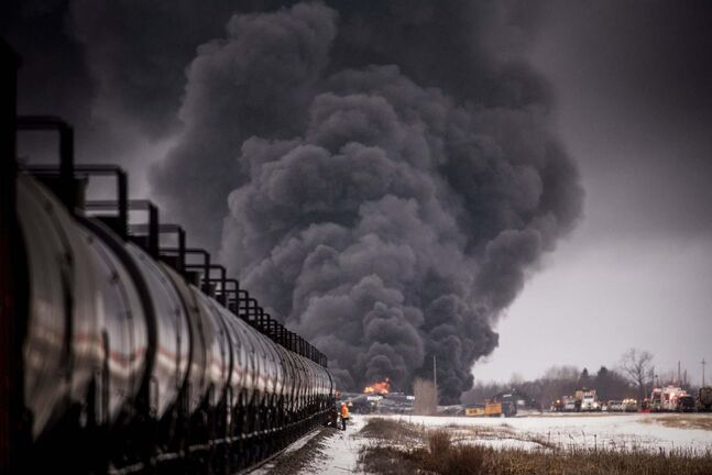 Matt Smith / The Canadian Press files</p><p>Smoke rises from last week's derailment in Saskatchewan.</p>