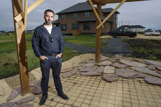 Ricky Brar recently built his home in West St. Paul and has found it difficult to find landscapers. (Jesse Boily / Winnipeg Free Press)
