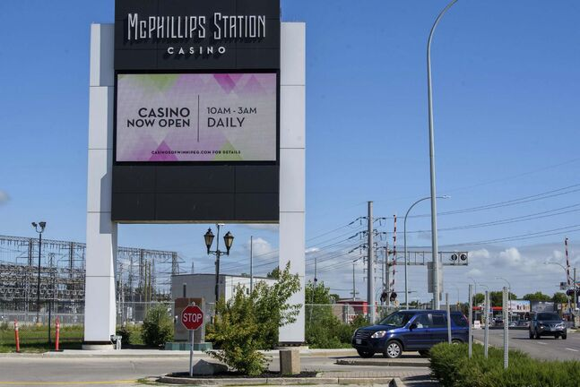 An electronic sign announced the reopening of McPhillips Station Casino. (Jesse Boily / Winnipeg Free Press)