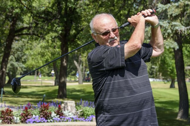 JESSE BOILY / WINNIPEG FREE PRESSJack Duncan tees off at Rossmere Golf and Country Club on Tuesday. Golf has seen a rise in business this year.Tuesday, Aug. 4, 2020.Reporter: Jason Bell</p>