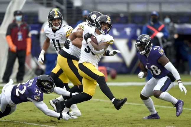 (AP Photo/Gail Burton)</p><p>Pittsburgh Steelers running back James Conner (30) runs with the ball against the Baltimore Ravens during the first half of an NFL football game, Sunday, Nov. 1, 2020, in Baltimore. </p>