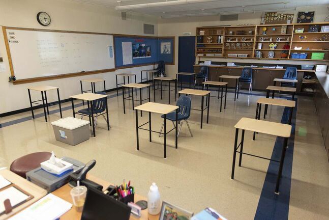 JESSE BOILY / WINNIPEG FREE PRESS One of the classrooms that has been downsized to accommodate 16 students at Andrew Mynarski V.C. School on Wednesday. Wednesday, Sept. 2, 2020. Reporter:</p>