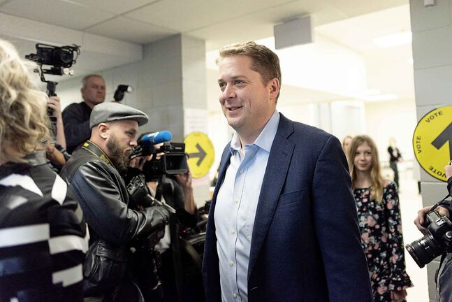 Conservative Party Leader Andrew Scheer leaves a voting station on Election Day in Regina on Monday.