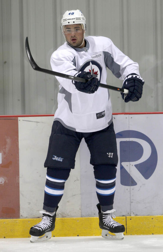 Jets forward Devon Setoguchi in his new Winnipeg practice uniform on Tuesday. (Joe Bryksa / Winnipeg Free Press)