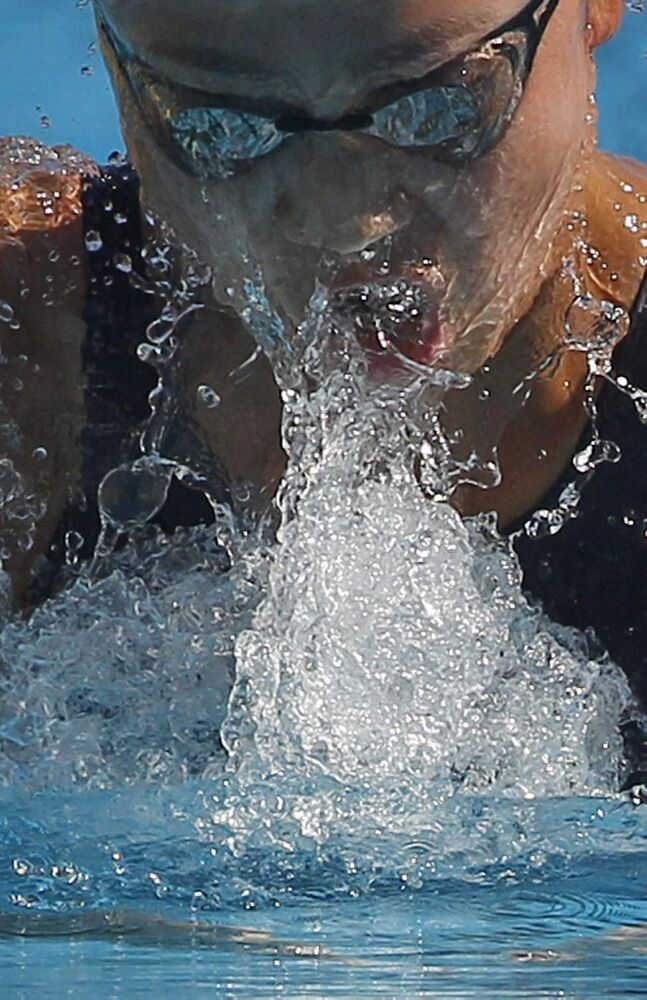 Japan's Kanako Watanabe swims during a women's 100mt breaststroke final at the Settecolli Swimming Trophy, in Rome, Thursday, June 14, 2012.
