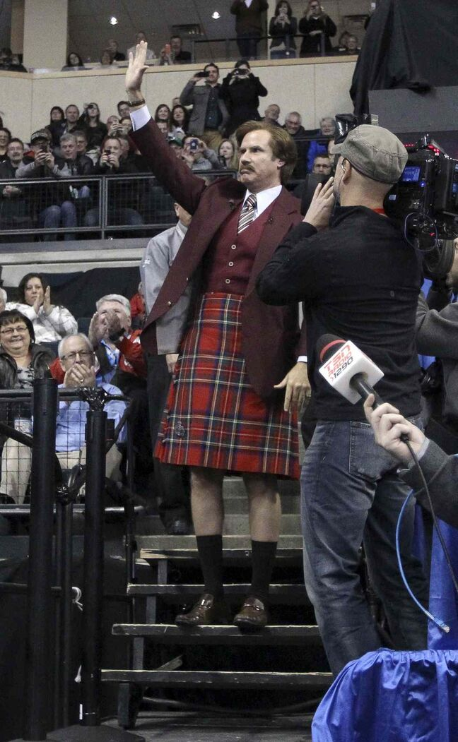 Ron Burgundy waves to the crowd at the MTS Centre.