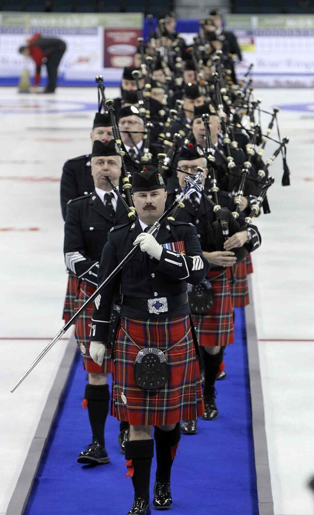 The Winnipeg Police Pipe Band marches in during the opening ceremony.