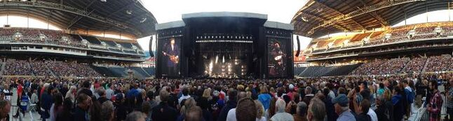 Paul McCartney begins his marathon set at Investors Group Field Monday.