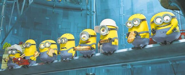 The yellow minions of Despicable Me 2 are appealing and easy to draw, making them stars of the film's marketing efforts.